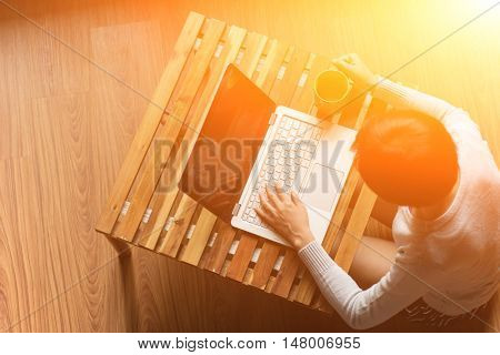 concept of woman work at home, Asian woman using laptop in a room
