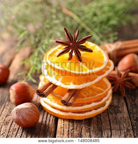 dried orange sliced and spice