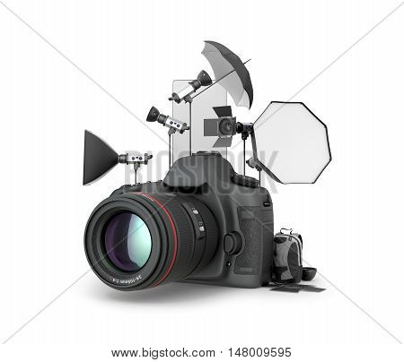 Concept studio. Photography Studio Equipment located near the camera on a white background. 3D illustration