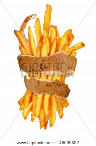 French fries in the peel  isolated on a white background