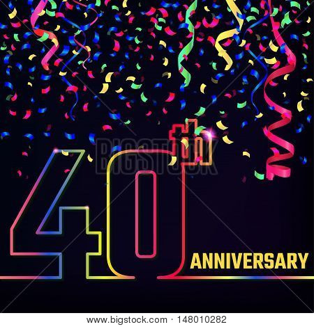 Vector Illustration of Anniversary 40th Outline for Design, Website, Background, Banner. Jubilee silhouette Element Template for festive greeting card. Shiny gold Confetti celebration