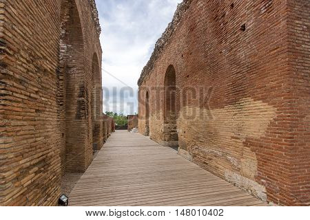 Wall in Roman Odeon, Patras, Peloponnese, Western Greece
