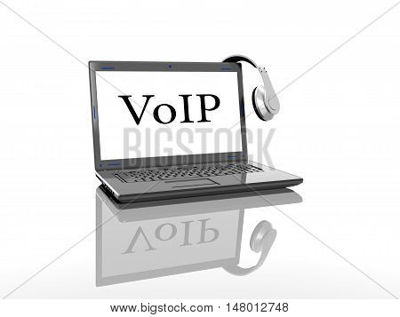 Laptop with an inscription on the VoIP screen and headphones