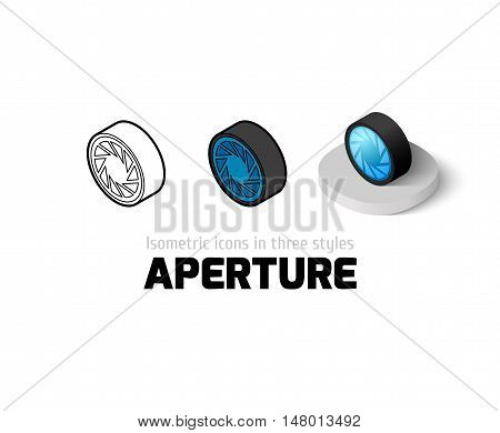 Aperture icon, vector symbol in flat, outline and isometric style