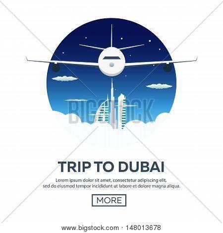Trip To Dubai, Uae. Tourism. Travelling Illustration. Modern Flat Design. Travel By Airplane, Vacati