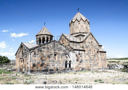 Side view of the monastery with bell tower Ovanavank standing on the edge of precipice