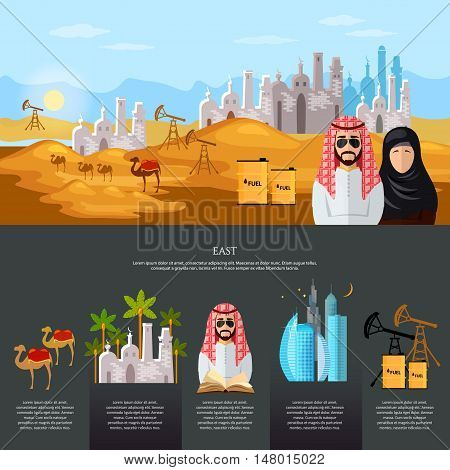 Life in the East tradition and culture in muslim countries banner dubai landscape oil industry journey to the east sheikh in desert vector illustration