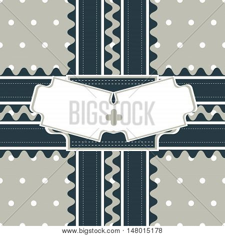 Congratulatory design with two stitched ribbons and double figured greeting card on polka dot background. Seamless vector illustration in restrained and noble color palette