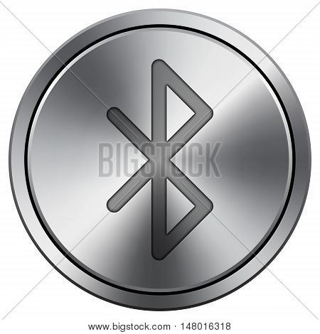 Bluetooth Icon. Round Icon Imitating Metal.