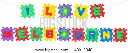 Message I Love Melbourne from letters puzzle isolated on white background.