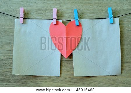 Clothespin Hanging With Blank Paper