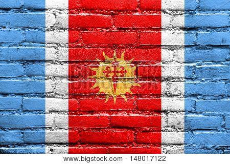 Flag Of Santiago Del Estero Province, Argentina, Painted On Brick Wall