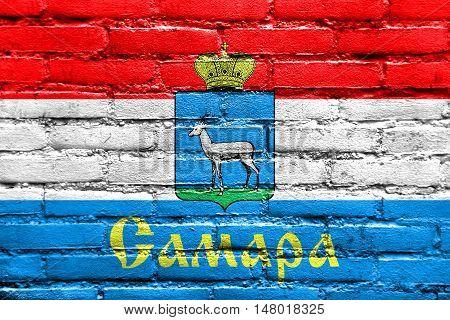 Flag Of Samara, Samara Oblast, Russia, Painted On Brick Wall