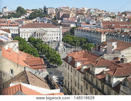 view of old Lisbon from the heights