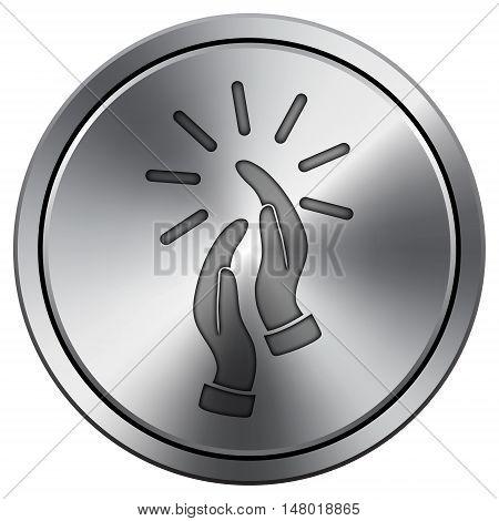 Applause Icon. Round Icon Imitating Metal.