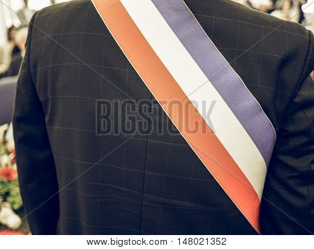 Vintage Looking French Mayor With Sash