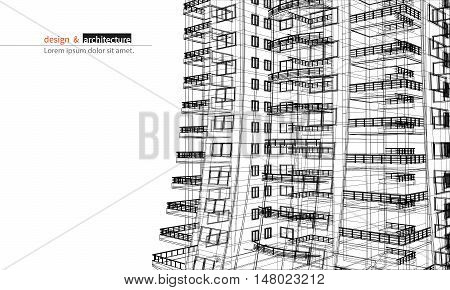 Urbanistic skyscraper. Abstract 3D render of building wire frame structure. construction graphic idea for template design.Modern Building.Perspective city wiev.