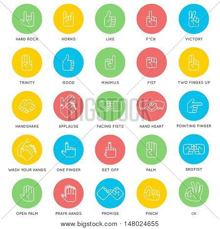 Hands signs. Stop hand and wash your hands, pointing hand and OK. Vector illustration