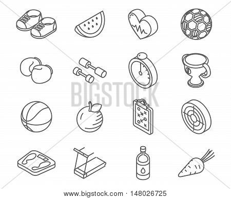 Isometric healthy lifestyle icons line art vector set. Sport lifestyle and hobby icons, illustration set of element for healthy lifestyle