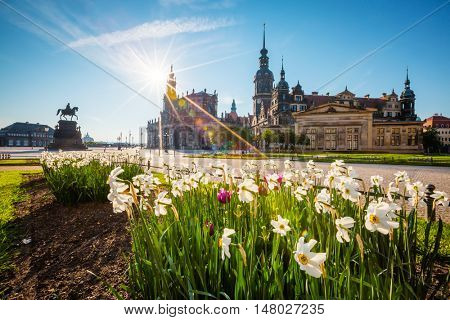 View of the ancient homes at old town. Historical scene. Location place residence kings of Saxony Dresden Castle (Residenzschloss or Schloss), Katholische Hofkirche, Germany, Europe. Beauty world.