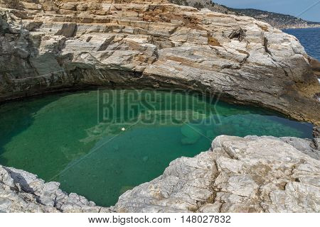 Panoramic view to Giola Natural Pool in Thassos island, East Macedonia and Thrace, Greece
