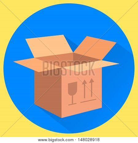 Cardboard box. Fragile this side up. Isolated flat vector illustration
