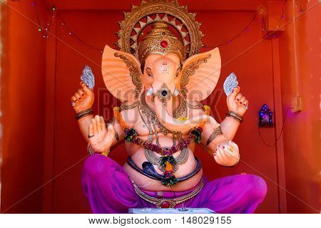 Large decorative painted statue of Lord Ganesha at Nasik in Maharashtra India Asia