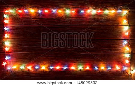 Glowing Christmas Lights Frame For Xmas Holiday Greeting Cards Design.