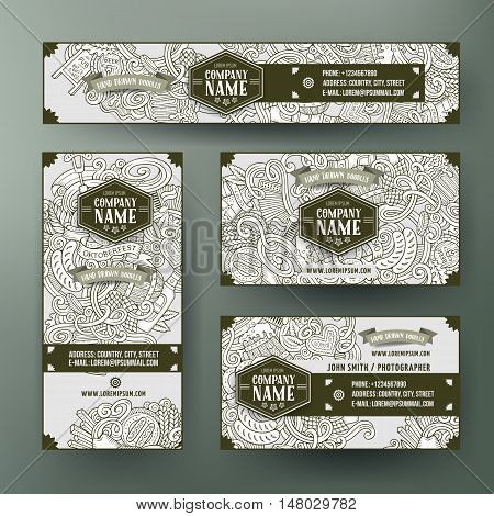 Corporate Identity vector templates set design with doodles hand drawn Octoberfest theme. Line art banner, id cards, flayer design. Templates set