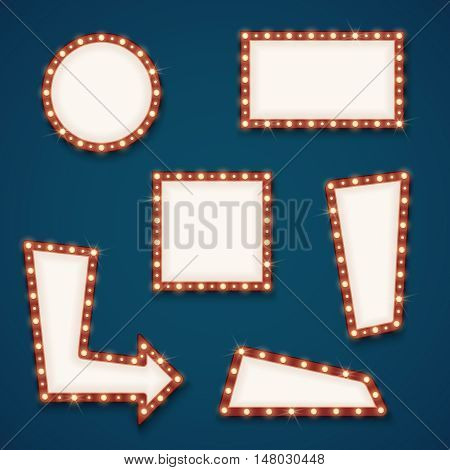 Retro road light empty signs banners with bulbs for cinema, hotel and casino. Vector illustration
