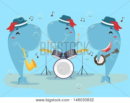 Cute Animal Illustration of a Whale Band Playing the Drums, Horn, and Banjo