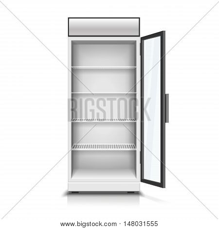 Modern vertical refrigerator with open transparent front panel. Vector realistic isolated 3D Illustration