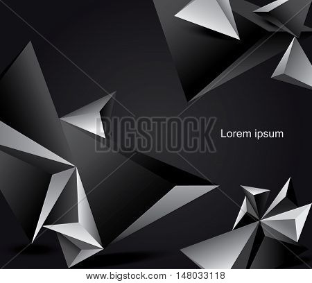 Abstract black and white vector background geometrical polygonal form.