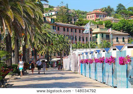 SANTA MARGHERITA LIGURE, ITALY - JUNE 28, 2016: Promenade at the beach front of Santa Margherita Ligure province of Genoa