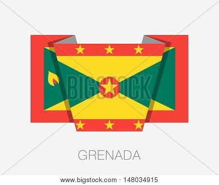 Flag Of Grenada. Flat Icon Wavering Flag With Country Name