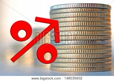 Red percent sign on a background of money . The concept of market instability