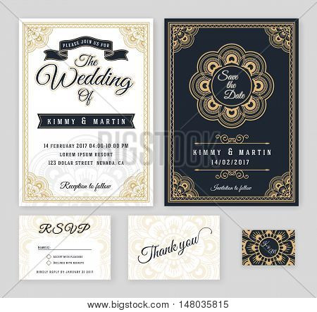 Vintage wedding invitation Mehndi mandala design sets include Invitation card Save the date RSVP card Thank you card. Vector illustration.