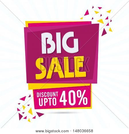 Big Sale with Discount Upto 40% Off, Creative Paper Tag, Banner, Poster or Flyer, Vector illustration with abstract design.