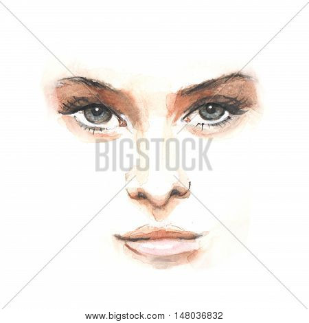 Female face. Hand drawn watercolor Illustration. Young woman
