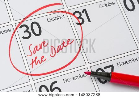Save The Date Written On A Calendar - October 30