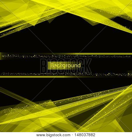 Abstract composition. Minimalistic fashion backdrop design. Yellow space star icon. Triangle texture. Modern ad banner. Glass facet connection fiber. Linking laser lines ornament. Stock vector