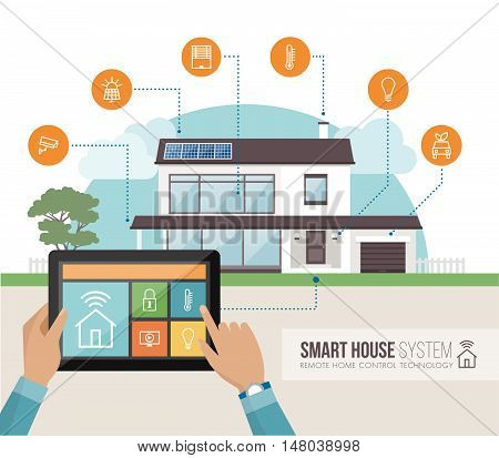 Smart house system control and mobile app on a tablet contemporary house with icons set on the background
