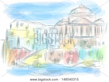 naples italy. abstract illustration of city on multicolor background
