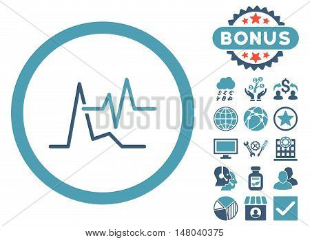 ECG icon with bonus symbols. Vector illustration style is flat iconic bicolor symbols cyan and blue colors white background.
