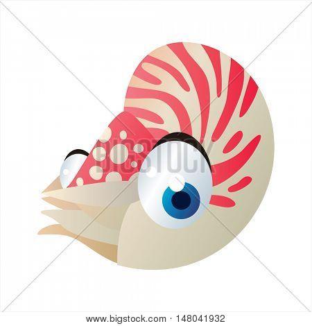 funny vector illustration of cute animal. Cartoon Sealife designs. Nautilus