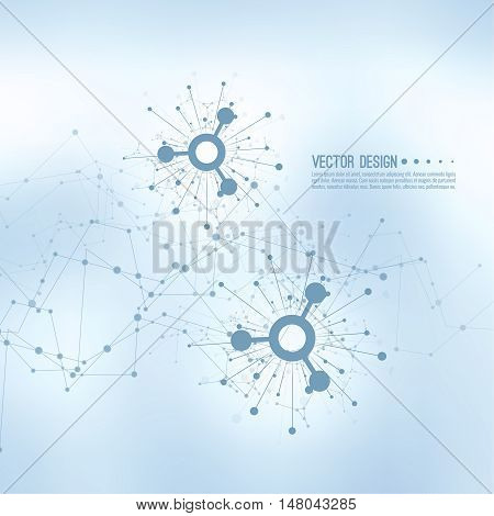 Array with dynamic moving particles. Node molecule structure. Science and connection concept. Techno Research, brain cells, neurons. Vector abstract background. Framework backdrop