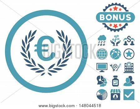 Euro Glory icon with bonus design elements. Vector illustration style is flat iconic bicolor symbols, cyan and blue colors, white background.