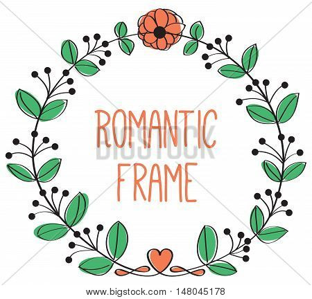 romantic floral frame circle frame vector isolated illustration with round floral background with place for text