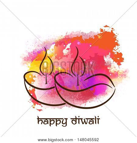 Creative Lit Lamps with colorful splash, Vector greeting card design for Indian Festival of Lights, Happy Diwali Celebration.