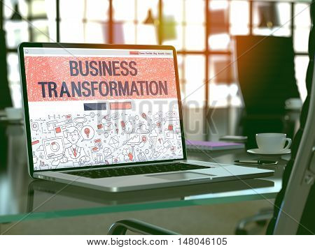 Business Transformation Concept. Closeup Landing Page on Laptop Screen in Doodle Design Style. On Background of Comfortable Working Place in Modern Office. Blurred, Toned Image. 3D Render.